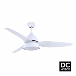 Bell white - DC ceiling fan in a modern design, with lighting, remote control, summer / winter operation