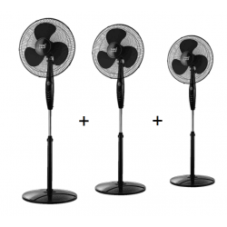 Set of 3 stand fans Inverna -  40 cm in black, with remote control