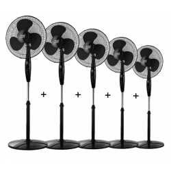 Set of 5 stand fans Inverna -  40 cm in black, with remote control