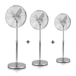 Set of 3 stand fans Pali - oscillating, 50W, 44 cm, in gray