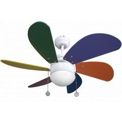 Ceiling fan 25.5in, with lamp, colored blades, perfect for children