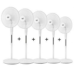 Set of 5 standing fans Arifi - 40cm, oscillating, 125 cm high, powerful and elegant