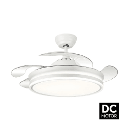 Bayomo white - ceiling fan 107 cm with transparent retractable blades, remote control and powerful lighting