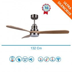 Lanzarote Lt -  designer ceiling fan, 132 cm, with WiFi, thermostat, with light