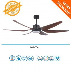 Ceiling fan air destratifier, 167 cm, powerful, Hyper Silent, LED, WiFi, thermostat