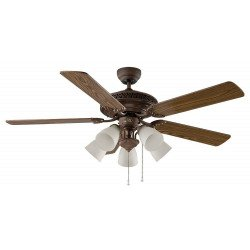 ceiling fan, classic, bronze, blades walnut / beech, with lighting 132 cm Casafan Centurion 513233