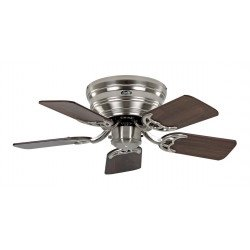 ceiling fan, Classic Flat, 79 Cm, Slim, silent, walnut blades - beech and brushed chrome, CASAFAN