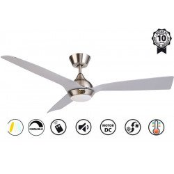 Hackney II Silver - DC ceiling fan of the last generation, 132 cm, with dimmable LED light, remote control, Wi-Fi ready