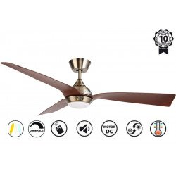 Hackney II Brass- DC ceiling fan of the last generation, 132 cm, with dimmable LED light, remote control, Wi-Fi ready