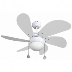 Ceiling fan Colore with lamp, 75 cm, white