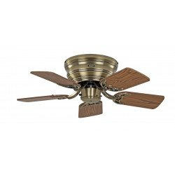ceiling fan, Classic Flat, 79 Cm, Slim, silent blades antique oak - beech and Antique Brass, CASAFAN