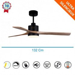 Flatwood LT - DC ceiling fan, with LED light, thermostat and remote control, 132 cm