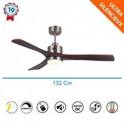 Flatwood DW  - DC ceiling fan, with LED light, thermostat and remote control, 132 cm