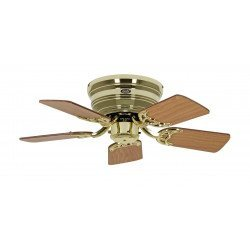 ceiling fan, Classic Flat, 79 Cm, Slim, silent blades antique oak - beech and Brass, CASAFAN