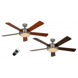ceiling fan, quiet design 132 Cm brushed chrome blades walnut / cherry with lamp CASAFAN Titanuim