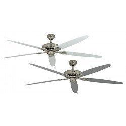 Royal BN ceiling fan, classic 180 Cm, Brushed chrome, white and gray lacquered blades, CASAFAN
