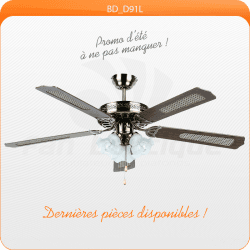 Ceiling Fan 132 cm, ideal for 20-40 m², reversible blades with or without antique brass reeds.