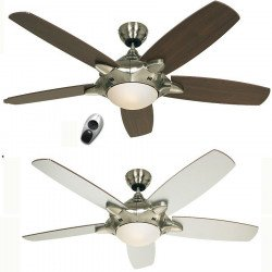Ceiling Fan, Mercury, modern, 132 Cm. satin chrome, reversible blades walnut / white light, ultra-quiet