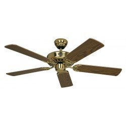 Ceiling fan, Royal MP, classic 103 Cm, Polished brass, oak blades, CASAFAN
