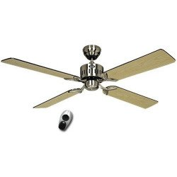 Ceiling Fan, TELESTO BN, 132 Cm, silent, blades Wenge / Maple and brushed chrome, remote control, CASAFAN