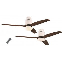 Ceiling Fan, DC 132 cm. modern, white lacquered, walnut wood blades, with light and remote control CASAFAN AERODYNAMIX