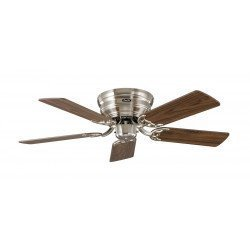 Ceiling Fan, Classic Flat, 103 Cm, silent, polished chrome, walnut / beech bladesCASAFAN