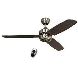 Ceiling Fan, Night Fligh BN-WN, modern 132 cm, Satin Chrome, Wenge blades CASAFAN