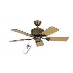 DC Ceiling Fan 103 Cm, Eco Elements MA Antique Brass, blades Oak / Beech
