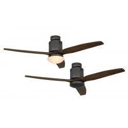 Ceiling Fan, DC 132 cm. modern, basalt gray, wooden blades walnut color CASAFAN AERODYNAMIX