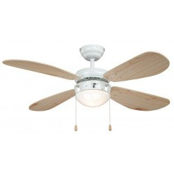 Ceiling Fan 105 cm. painted in white, classic, light, pine blades, silent, ideal for ideal for low ceilings.
