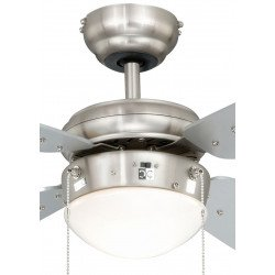 Ceiling Fan 105 cm. nickel plated steel, silver blades, silent, ideal for low ceilings