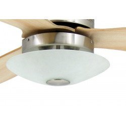 Ceiling Fan 132 cm , modern, with light , aeronickel, remote control, maple blades, silent