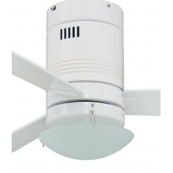Ceiling Fan 107 cm. Photon painted white, modern, light, remote control, white / pine blades, silent
