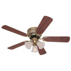 Ceiling fan 105 cm, Antique brass, 3 lights, reversible blades,  impeccable finish.