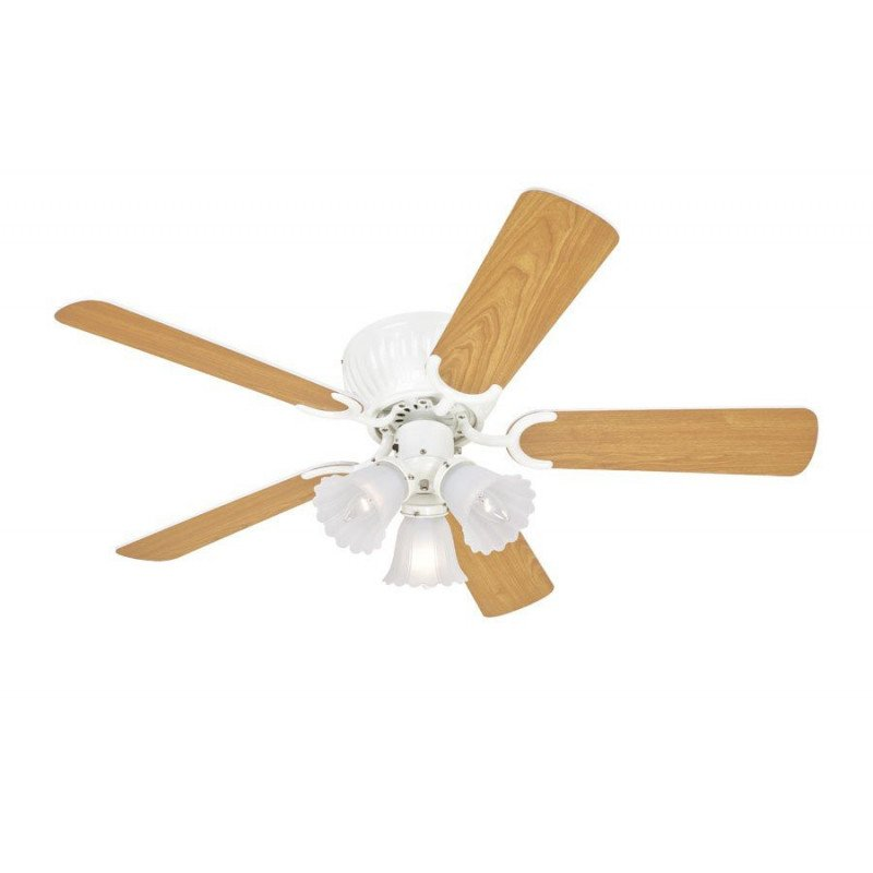 Ceiling Fan 105 cm, ,antique 3 lights white blades White / Maple. impeccable finishing