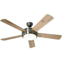 ceiling fan, design, silent 132 Cm, remote control, brushed chrome, beech wood blades lamp CASAFAN Titanuim