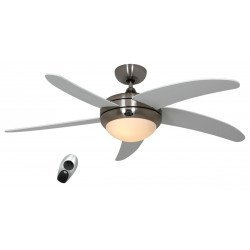 ceiling fan, quiet design 132 Cm Brushed chrome gray color blades with lamp, CASAFAN Elica BN-WE
