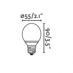 Pack of 4 BALL LED bulbs E27 3W WARM WHITE
