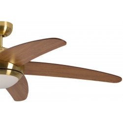 ceiling fan, quiet design 132 Cm brushed Chrome blades cherry / maple, with lamp Pepeo Melton