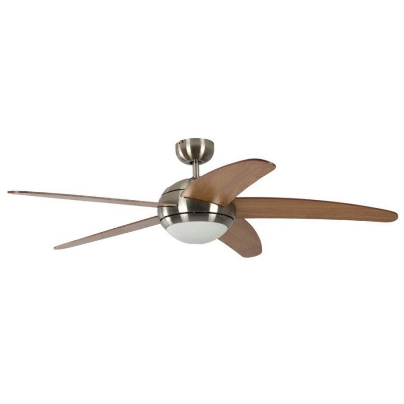 ceiling fan, quiet design 132 Cm Brushed chrome blades cherry / maple., with lamp Pepeo Melton
