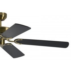ceiling fan, classic, silent, 132 Cm. antique brass body black blades Potkuri Pepéo.