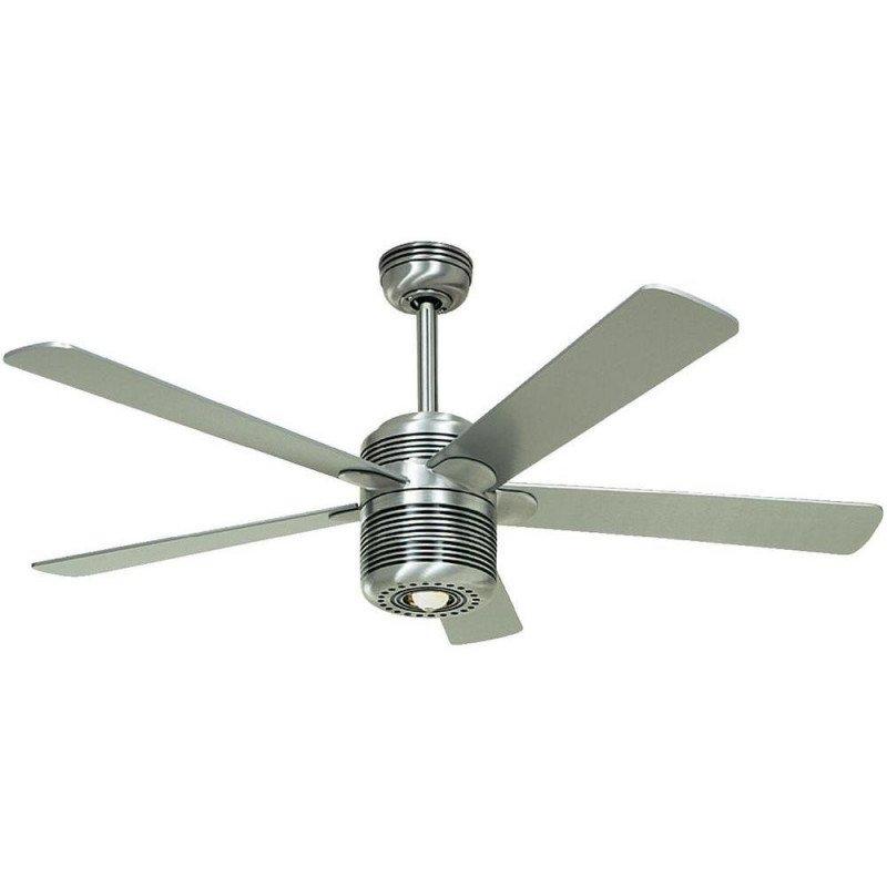 Ceiling fan ALU casafan, modern white 132 cm, silver gray blades / Cherry