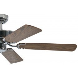 ceiling fan, classic, silent, 132 Cm.polished hrome body oak color blades Potkuri Pepéo.