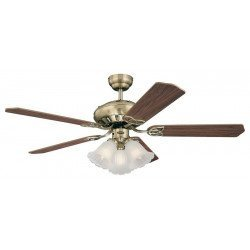 Ceiling Fan, 132 cm, with lamp, double blades oak / mahogany face and body of aged brass.