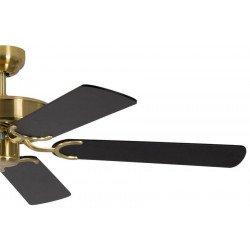 ceiling fan, classic, silent, 132 Cm. satin brass, black blades, Potkuri Pepéo.