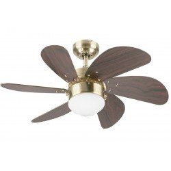 Ceiling Fan, 76 cm., With light, aged mahogany and brass
