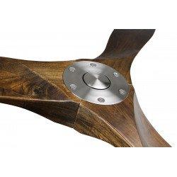 ceiling fan design 152 Cm. Spruce walnut laminated blades body in satin matt chromed steel.