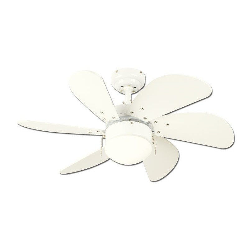 Ceiling Fan, 76 cm., With light. Engine white steel white blades.