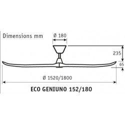 ceiling fan design 180 Cm. Spruce glued laminated blades body in satin matt chromed steel.