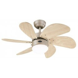 Ceiling Fan, 76 cm., With light. aluminum. light oak blades
